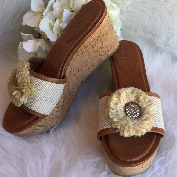 1798899117 Coach Shoes   Jazmin Cork Platform Sandals   Poshmark